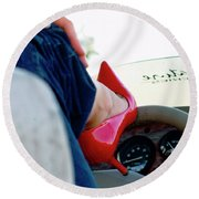 Red Shoe Driving Round Beach Towel by Bob Pardue