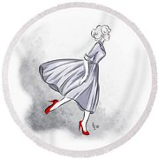 Red Shoes Red Lips Round Beach Towel
