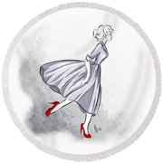 Round Beach Towel featuring the digital art Red Shoes Red Lips by Cindy Garber Iverson