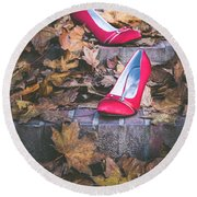 Red Shoes II Round Beach Towel