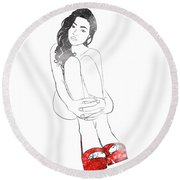 Red Shoes Round Beach Towel
