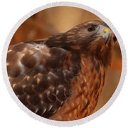 Round Beach Towel featuring the digital art Red Shouldered Hawk 1  by Chris Flees