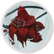 Red Silk Cotton Flower Round Beach Towel