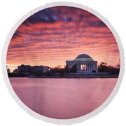 Round Beach Towel featuring the photograph Red Skies At Dawn by Edward Kreis