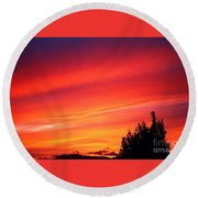 Round Beach Towel featuring the photograph Red Skies At Night  by Nick Gustafson