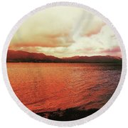 Round Beach Towel featuring the photograph Red Sky After Storms  by Chriss Pagani