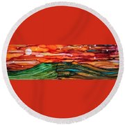 East Meets West Round Beach Towel