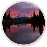 Red Sky At Night Round Beach Towel by Mike  Dawson