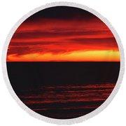 Red Sky At Night Round Beach Towel