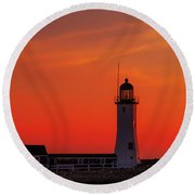 Red Sky In The Morning Round Beach Towel