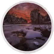 Red Sky, King Rock  Round Beach Towel