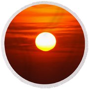 Red Sky Morning Round Beach Towel