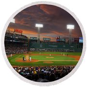Red Sky Over Fenway Park Round Beach Towel