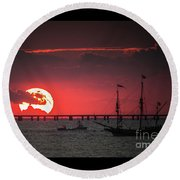 Red Sky Round Beach Towel