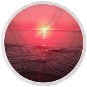 Red Sky Sunset Round Beach Towel