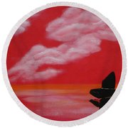 Red Sky1 Round Beach Towel