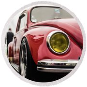 Round Beach Towel featuring the photograph Red Slammed Vw Beetle by Will Gudgeon