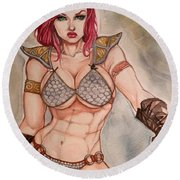 Red Sonja Round Beach Towel