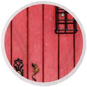 Red Speakeasy Door Round Beach Towel