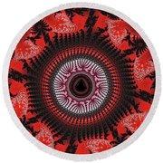 Red Spiral Infinity Round Beach Towel