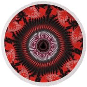 Red Spiral Infinity Round Beach Towel