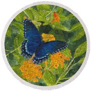 Red Spotted Purple Butterfly Batik Round Beach Towel