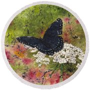 Red Spotted Purple Butterfly Queen Annes Lace Batik Round Beach Towel
