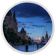 Red Square At Dusk Round Beach Towel
