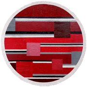 Red Square Round Beach Towel by Tara Hutton