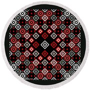 Red Squared Round Beach Towel