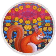 Red Squirrel Round Beach Towel by Jane Tattersfield