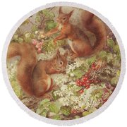 Red Squirrels Gathering Fruits And Nuts Round Beach Towel by Rosa Jameson