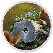 Red Squirrels Round Beach Towel