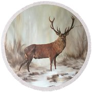 Red Stag Round Beach Towel by Jean Walker