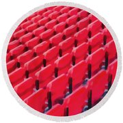 Red Stadium Seats Round Beach Towel