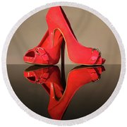 Round Beach Towel featuring the photograph Red Stiletto Shoes by Terri Waters