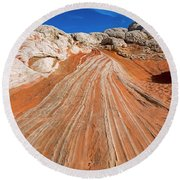 Round Beach Towel featuring the photograph Red Stone Highway by Mike Dawson