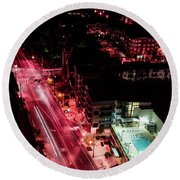 Red Streets Round Beach Towel
