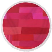 Red Stripes 1 Round Beach Towel