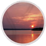 Red Sun Round Beach Towel