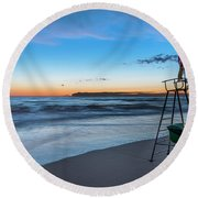 Red Sun In The Sunset Beach - Spiaggia Al Tramonto Round Beach Towel