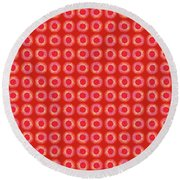 Round Beach Towel featuring the painting Red Sun by Kym Nicolas