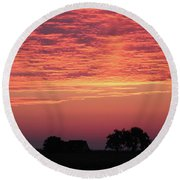 Red Sunrise Round Beach Towel