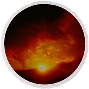 Red Sunset In Africa Round Beach Towel