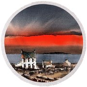 Red Sunset On Bungowla, Aran, Galway Round Beach Towel