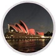 Red Sydney Opera House Round Beach Towel