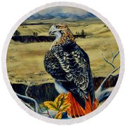 Montana Red Tail Hawk  Round Beach Towel