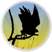 Red-tailed Hawk Taking Flight Silhouette At Sunrise Round Beach Towel