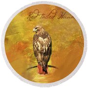 Round Beach Towel featuring the photograph Red-tailed Hawk Watercolor Photo by Heidi Hermes