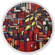 Round Beach Towel featuring the painting Red Tango by Joanne Smoley